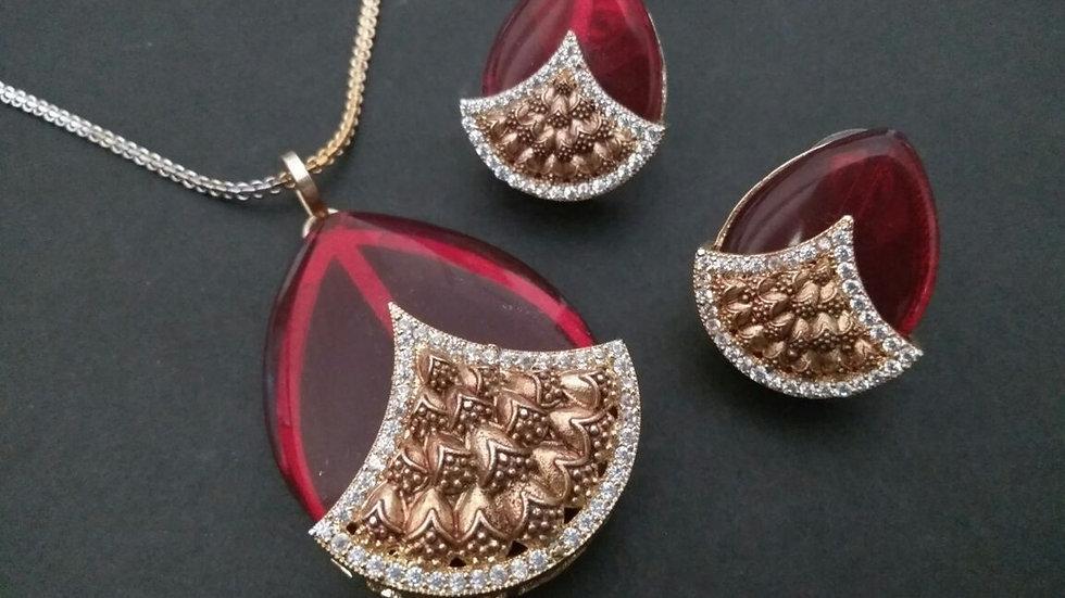 Beautifully  designed American Diamond Pendant