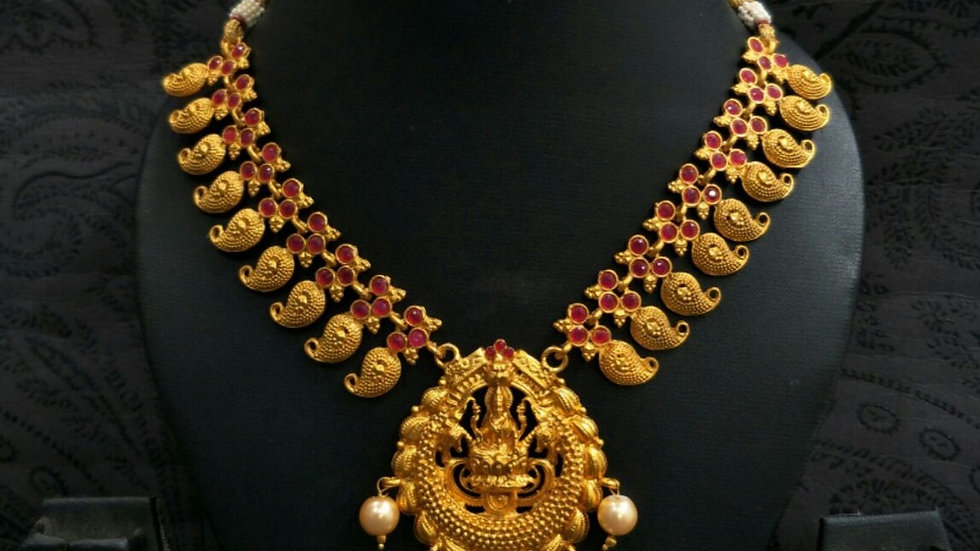 Gold plated Laxm Necklace studded with precious stones
