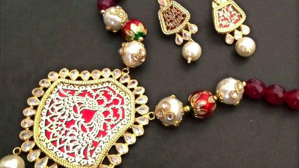 Peacock Design Engraved Necklace set along with precious beads