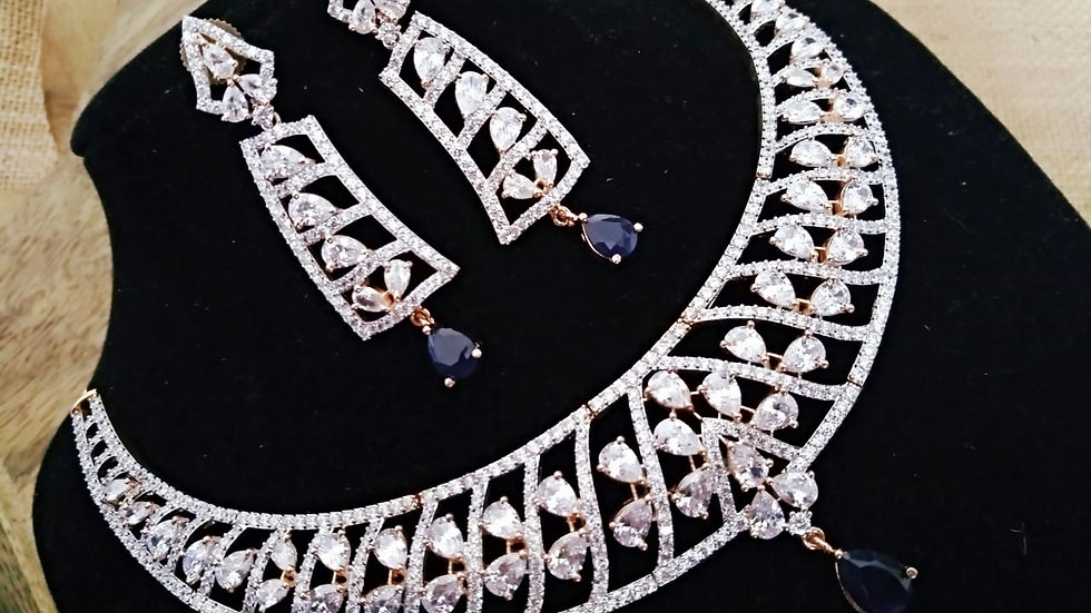 American Diamond Necklace set ,studded with beautiful navy blue american diamond
