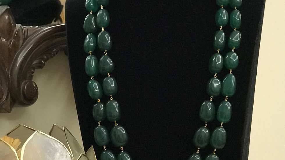 Natural Emerald Look Plain Tumble Beaded Mala