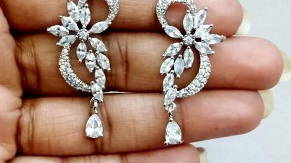 Pure Cubic Zircon(American Diamond) earring with warranty