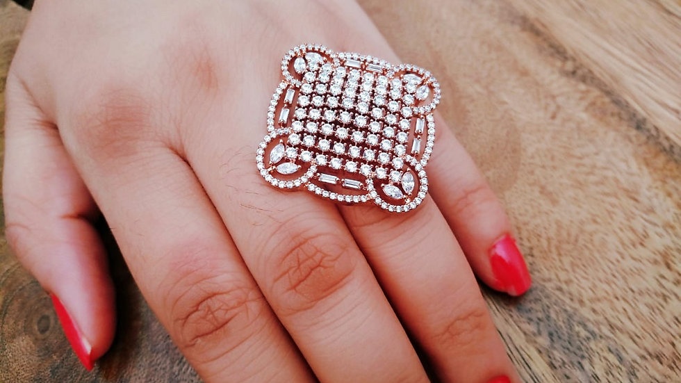 Square Shaped American Diamond Finger ring with warranty