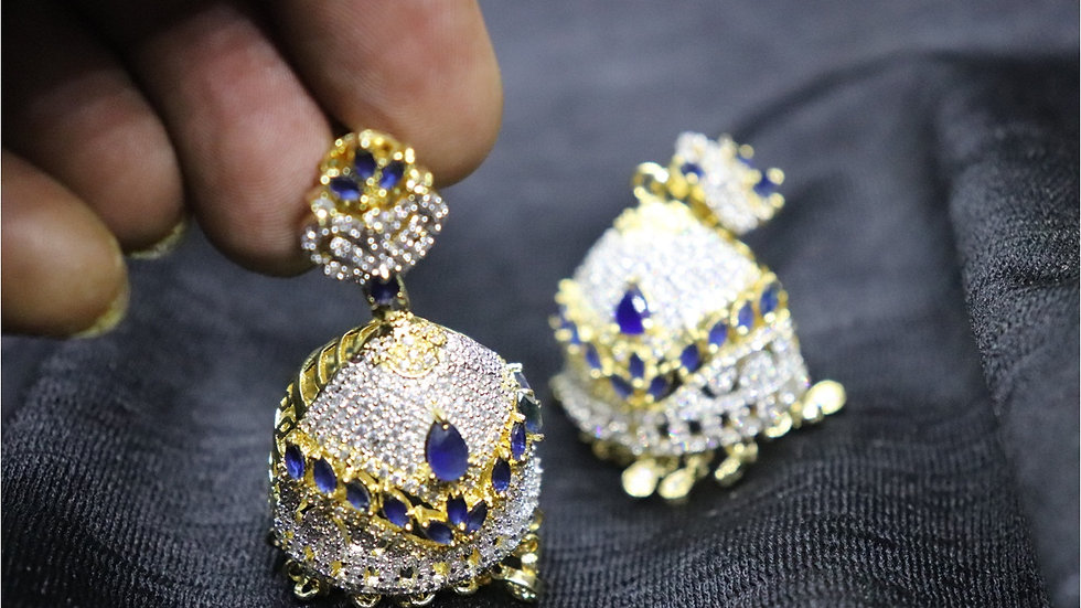 Blue colored american diamond stones studded jhumki with warranty