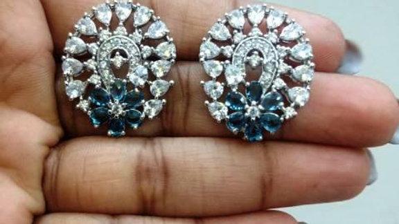 Elegant Pure Cubic Zircon(American Diamond) stud with warranty