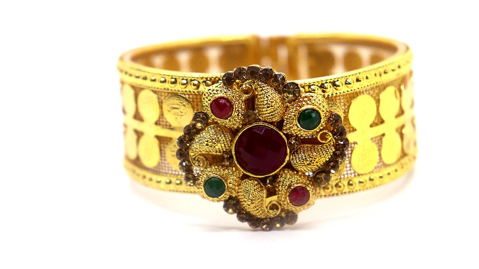Gold plated Kada,studded with American Diamond stones