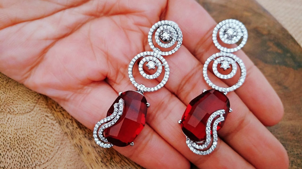 Red coloured American Diamond Dangler with warranty