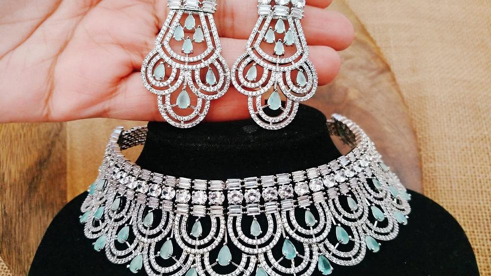 Elegant american diamond choker set with beautiful dang