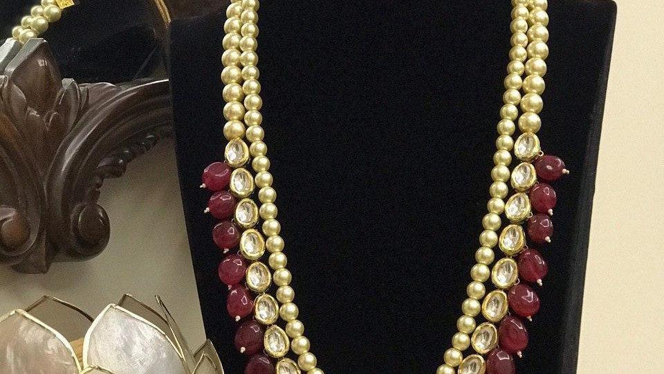 Traditional Style Kundan Meenakari Necklace set with amethyst Tumble Mal