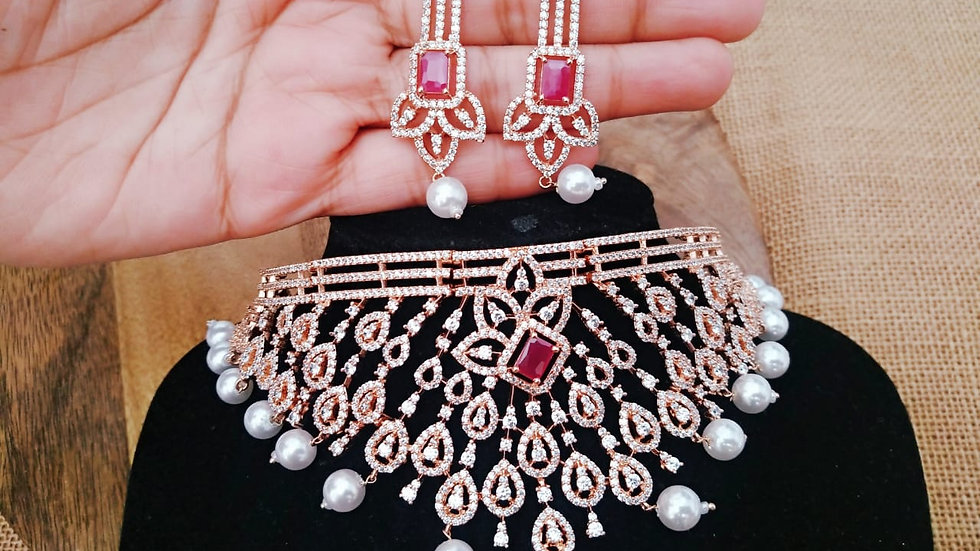 Red coloured American Diamond Necklace set