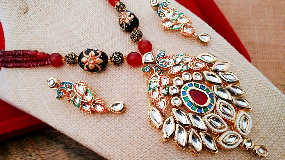 Peacock Shaped,Multicoloured  Kundan Necklace Set with beautiful pair of earring