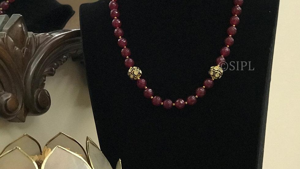 Beautiful Ruby Tumble Stone Chain