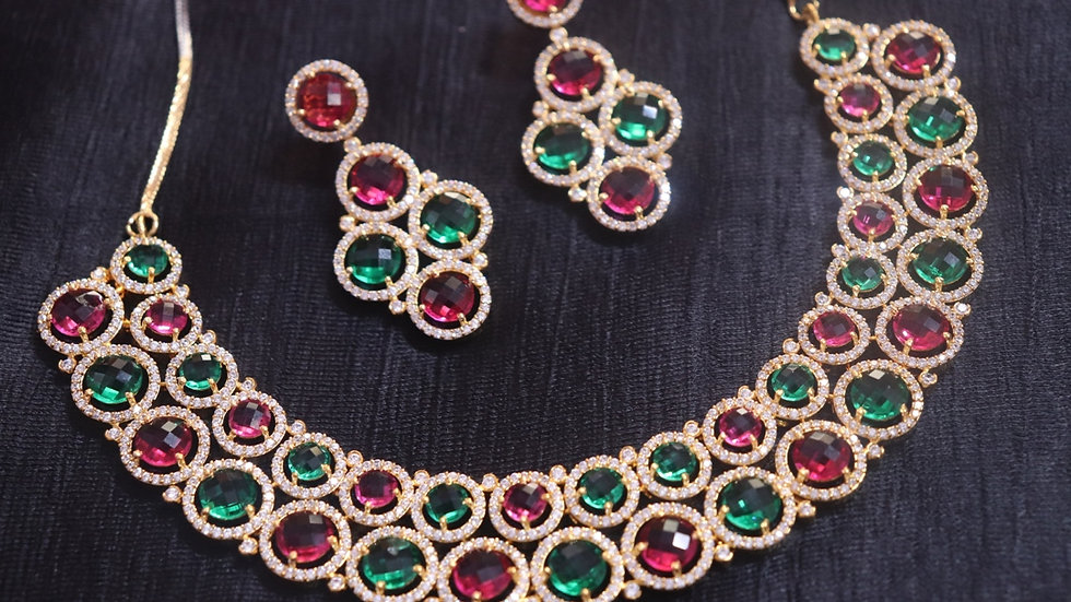 Multicoloured American Diamond Necklace set with an year warranty
