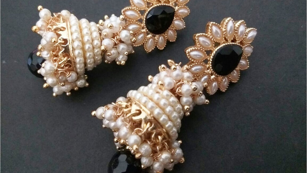 Pearl beads studded gold plated jhumki with warranty
