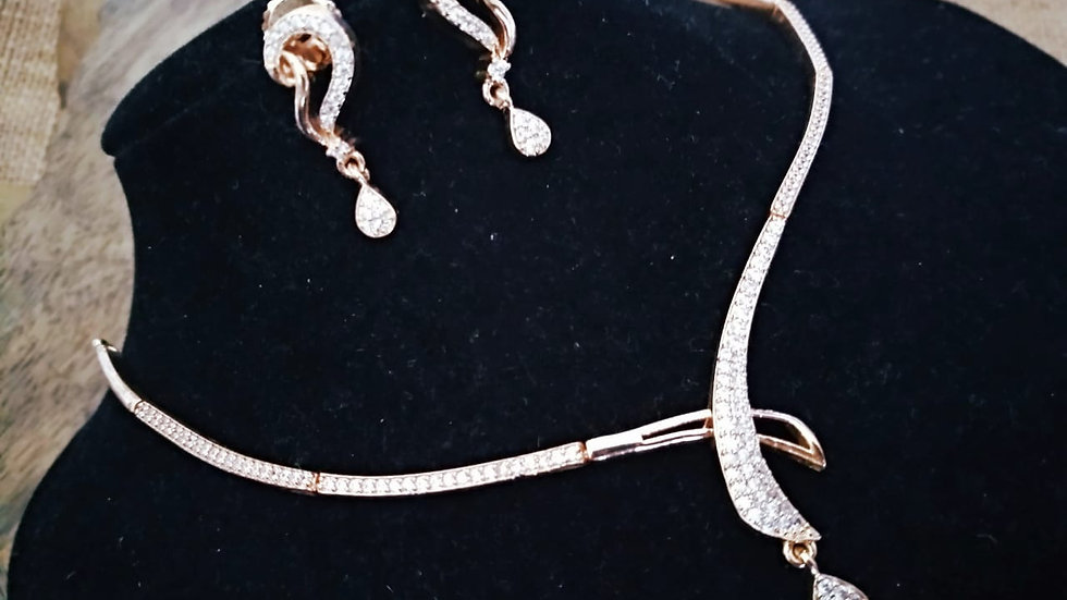 Elegant american Diamond necklace set with an year warranty