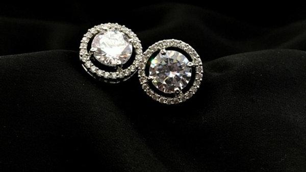White coloured American Diamond Studs