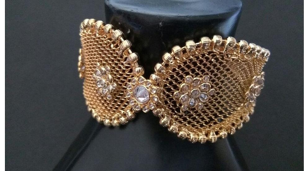 High class brass+semi precious stones studded earrings with