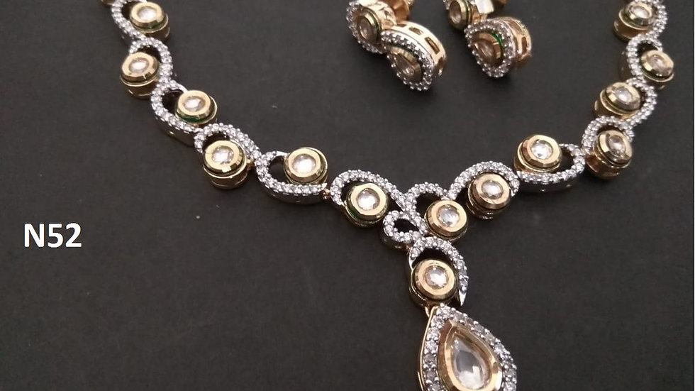 Beautiful American Diamond Necklace set studded with kundan stones
