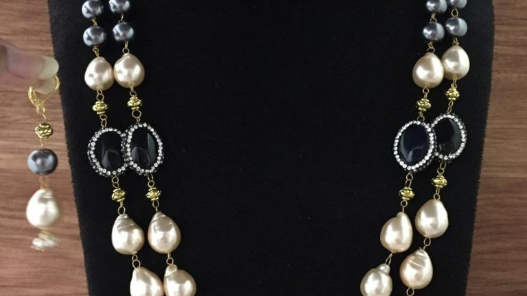 Natural Pearl, Beads and Natural Stone Necklace paired with beautiful earrings