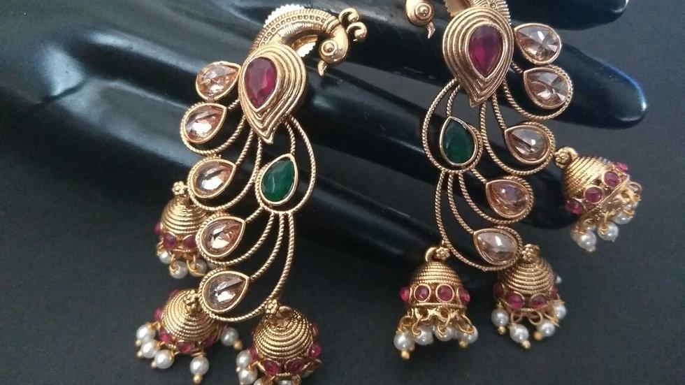 Peacock Shaped ,american diamond studded Earrings with warranty