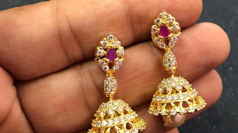 American Diamond + Pearl Earrings with an year warranty