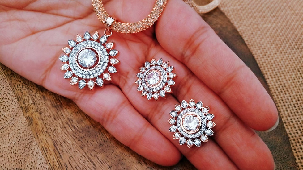 Round Shaped American diamond Pendant set