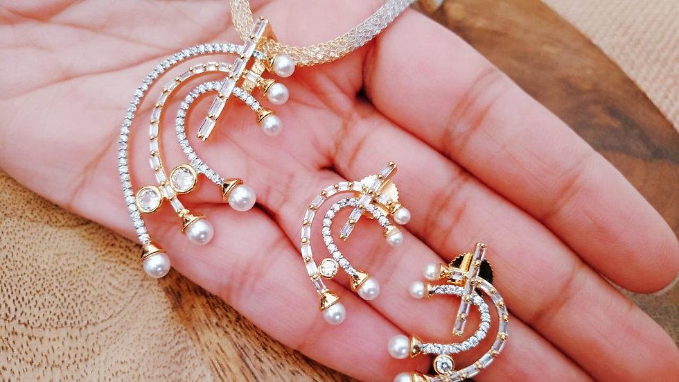 American Diamond Pendant set studded with pearl