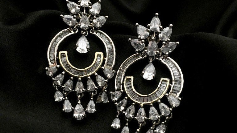 High quality American Diamond earrings with an year warranty