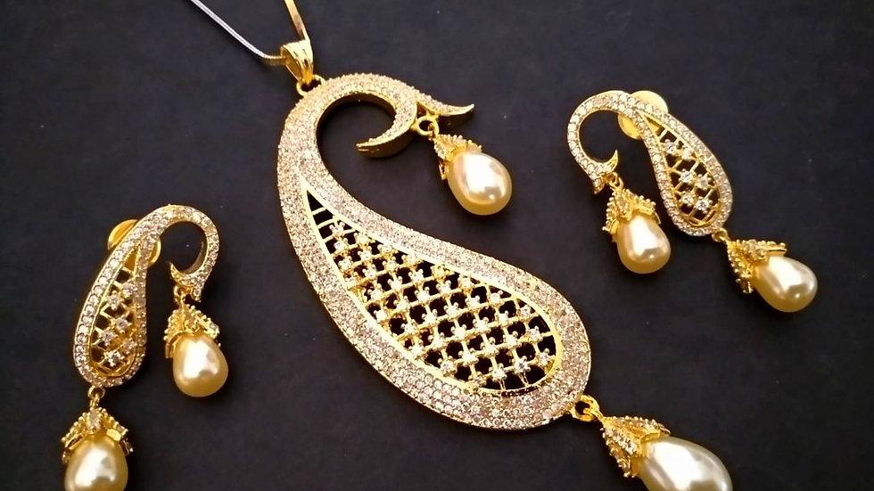 Elegant and beautiful American Diamond Pendant set with warranty