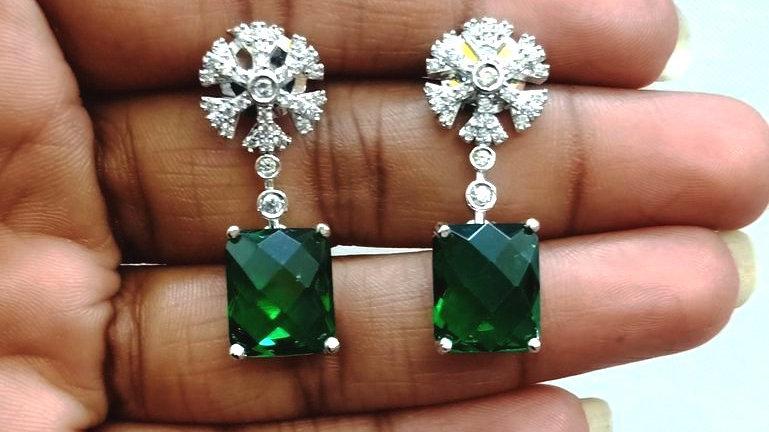 Pure Cubic Zircon(American Diamond) dangler with warranty
