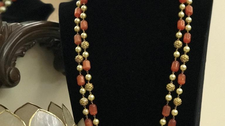 High Quality Monalisa Stone With Meenakari Beads Long 2 Layered Mala