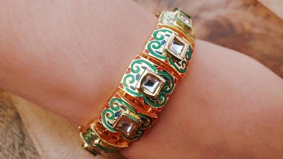 Kundan studded Bracelet, beautifully hand painted