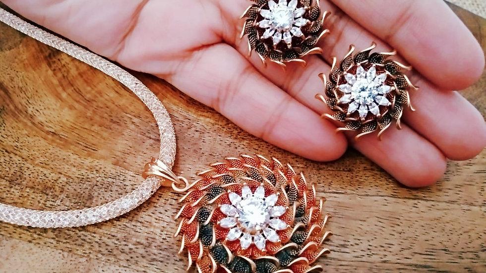 Stylish and elegant American Diamond Pendant set with warranty