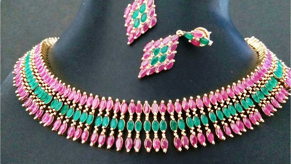 Multicoloured American Diamond Necklace set with warranty
