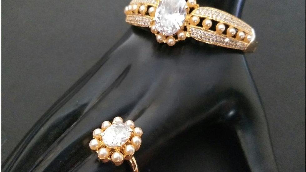 American diamond kada along with beautiful finger ring