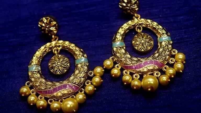 Fresh water pearl studded brass earrings with warranty