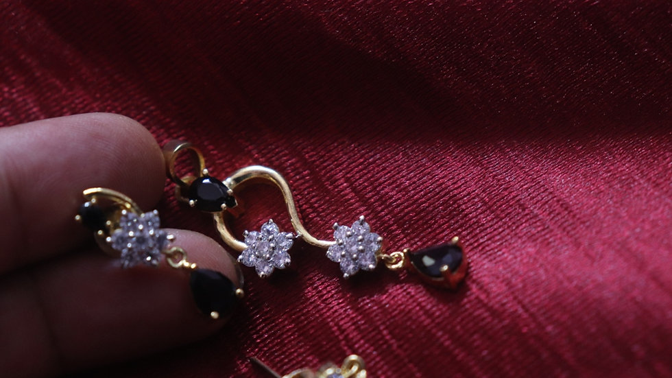 Small and elegant Cubic Zircon Pendant set with beautiful pair of earrings