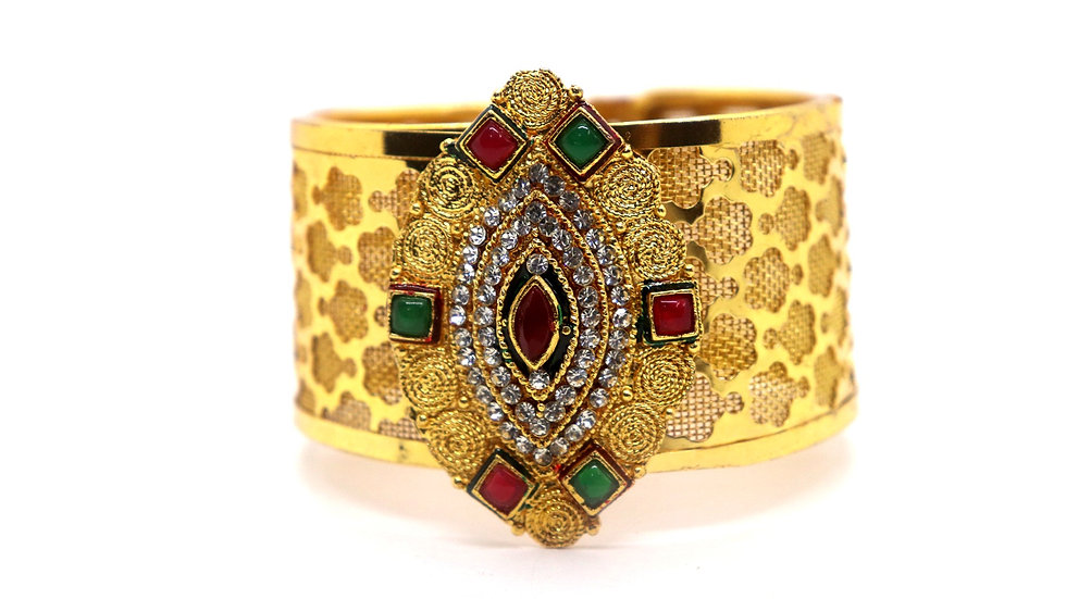 Gold plated Kada,studded with American Diamond stones