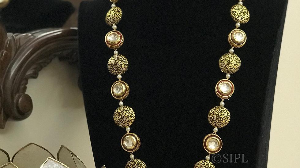 Beautiful Nakshi Design With Kundan meenakari Long Chain