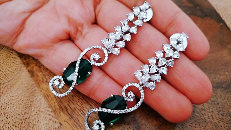 Green coloured American Diamond Dangler with warranty