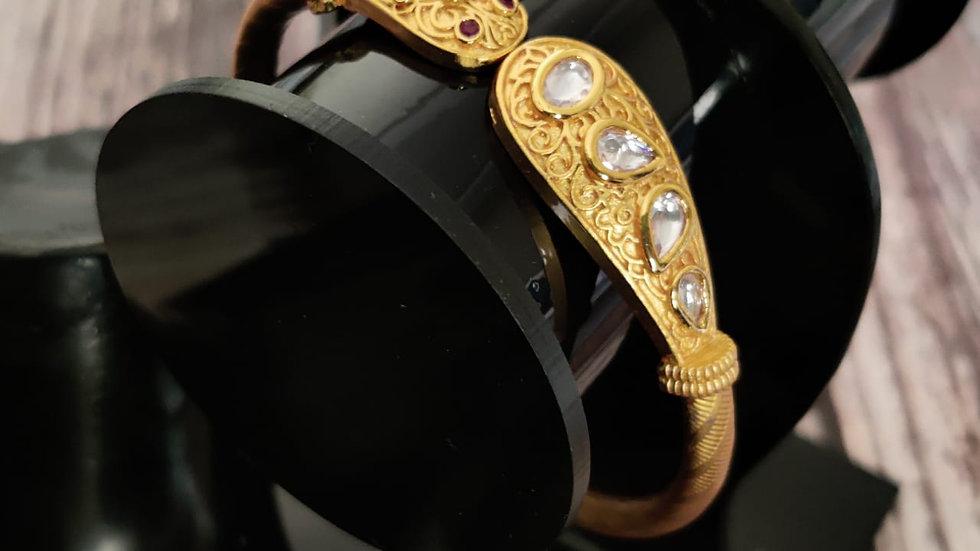 Gold plated Kada studded with Kundan Stones