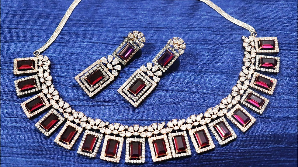 Red coloured American Diamond Necklace set with beautiful pair of earrings