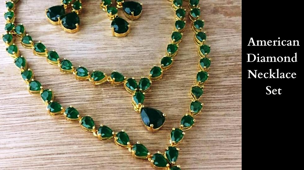 Elegantly designed American Diamond ,Cubic Zircon Necklace set