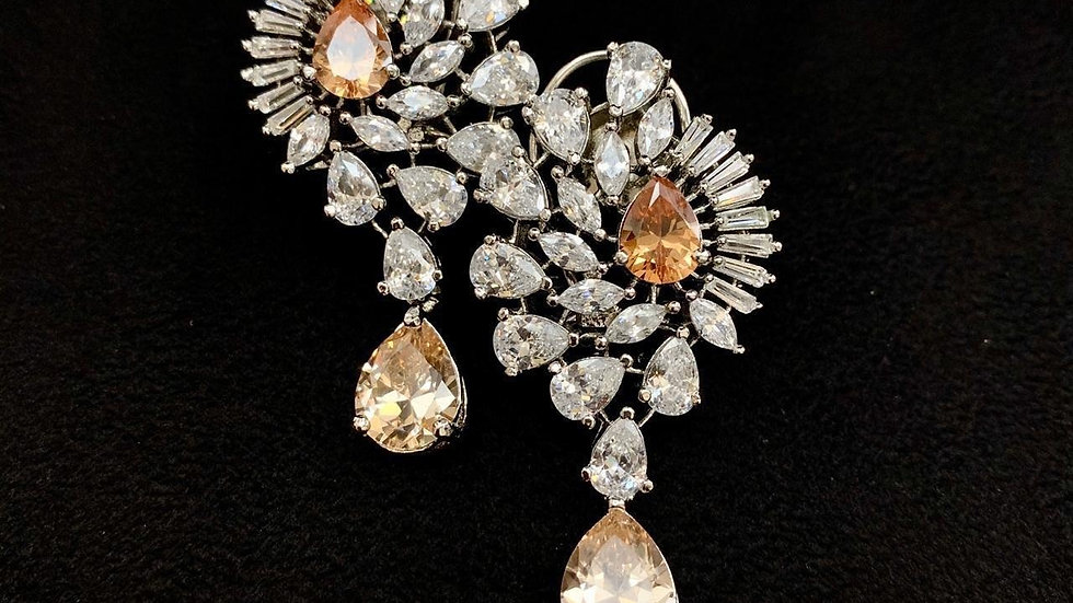 Beautiful American Diamond Dangle earring..studded diamond fitting