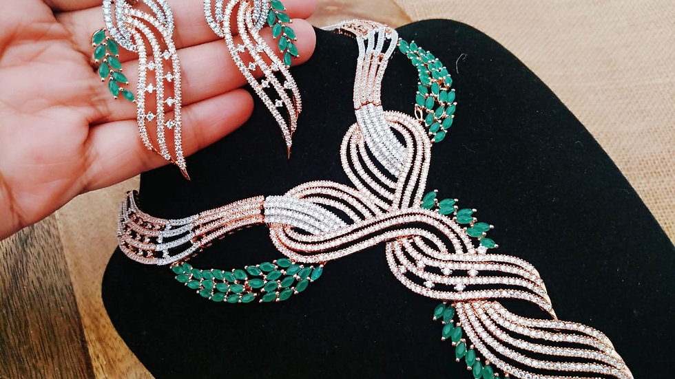 Green coloured American diamond Necklace set