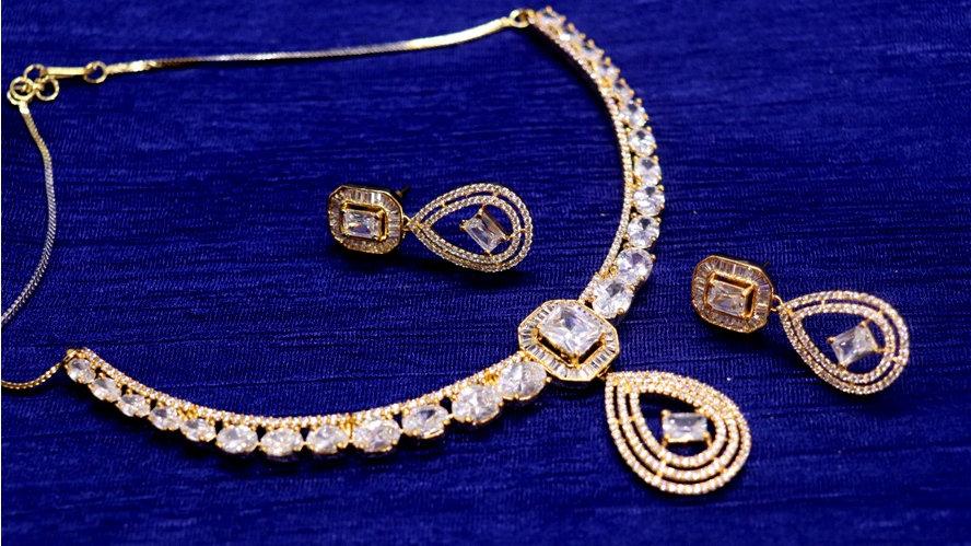 American Diamond Necklace set wit beautiful pair of American Diamond Danglers