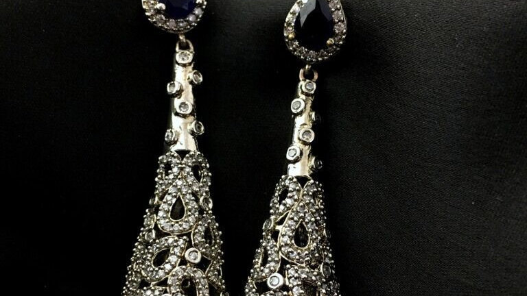 Elegant American Diamond Dangler with warranty