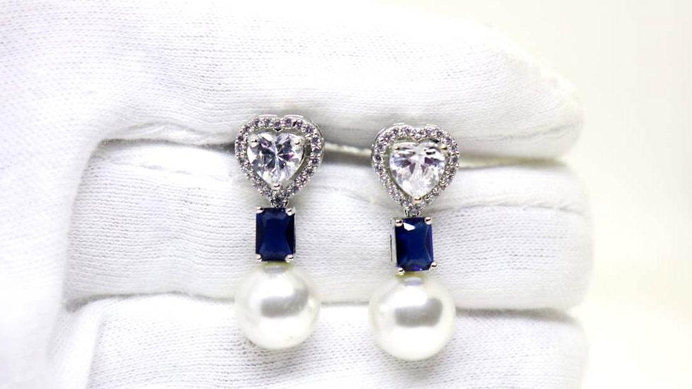 Elegant American Diamond (Cubic Zircon) + Pearl Earring
