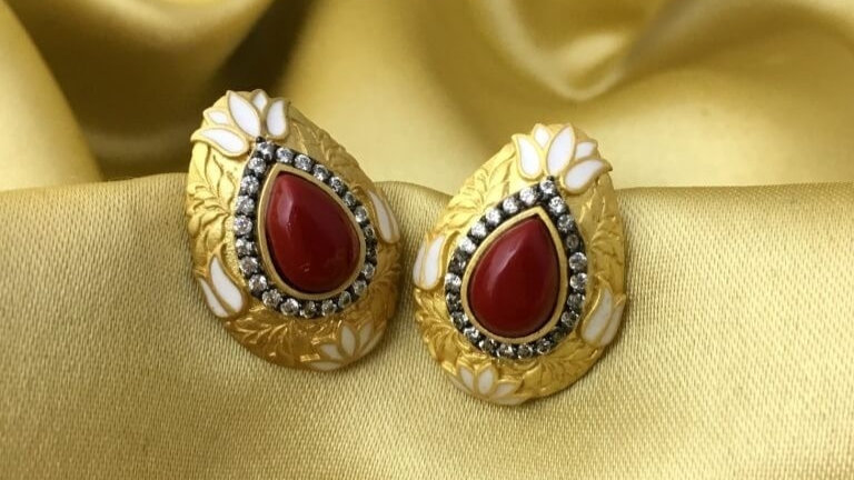 Gold plated Stud with semi precious stone
