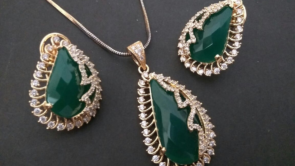 Green Coloured American Diamond Pendant set with warranty